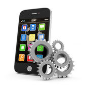 Mobile Technology Concept. Touchscreen Smartphone with Gears isolated on white background