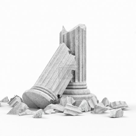 Photo for Broken Classic Ancient Column isolated on white background - Royalty Free Image