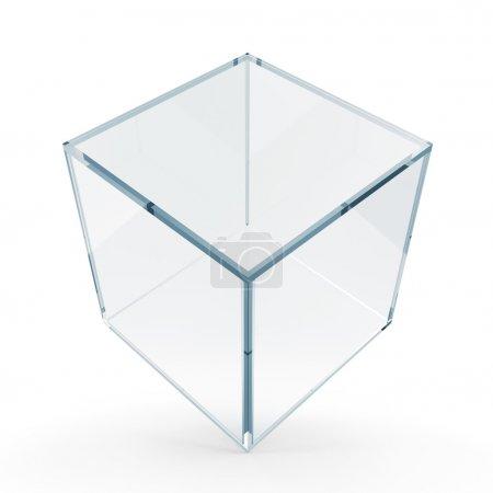 Photo pour Cube en verre vide sur fond blanc - image libre de droit