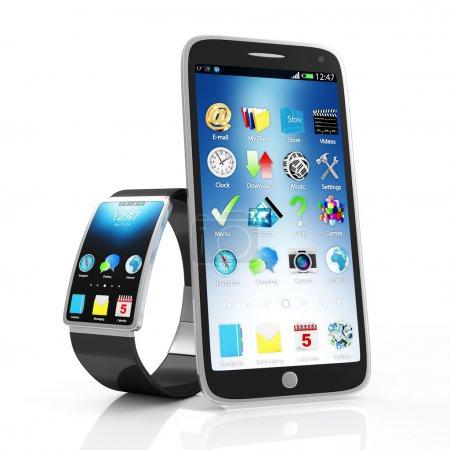 Photo pour Concept de technologie avancée. Montre intelligente moderne avec écran tactile Smart Phone isolé sur fond blanc - image libre de droit