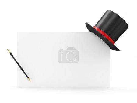 Photo pour Chapeau magique et baguette magique sur tableau blanc isolé sur fond blanc - image libre de droit