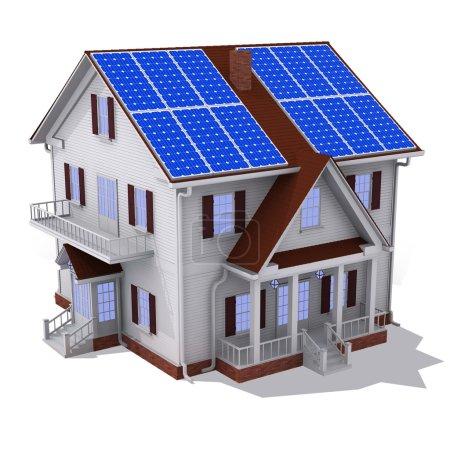 Foto de Render de panel solar en casa de techo aislado - Imagen libre de derechos