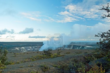 Smoking Crater of Halemaumau Kilauea Volcano in Hawaii Volcanoes