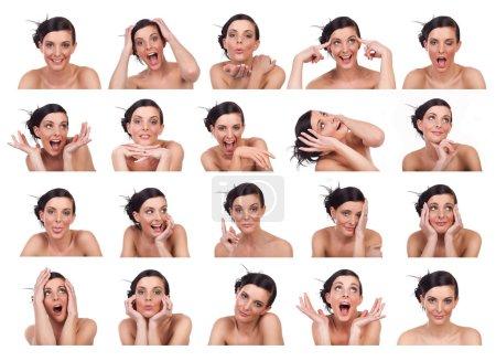Photo pour Jeune femme montrant plusieurs expressions, isolée sur fond blanc . - image libre de droit