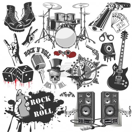 Illustration for Set of vector symbols related to rock and roll - Royalty Free Image