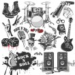 Set of vector symbols related to rock and roll...