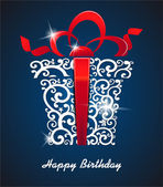 Greeting card Happy Birthday with gift box and place for your text vector
