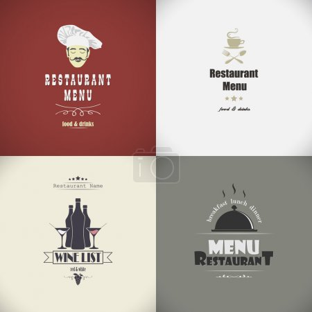 Set of sketches for the restaurant menu. Vector illustration