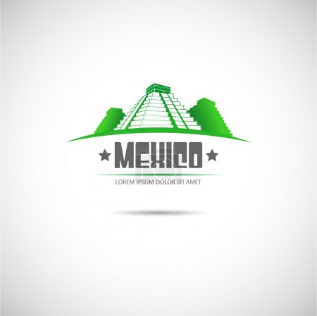 Label with Mayan pyramid. Mexico. Vector....