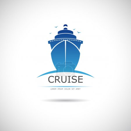 Illustration for Label with sea cruise liner. Vector. - Royalty Free Image
