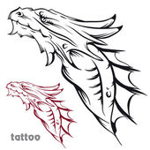 Sketch of tattoo with a dragon's head