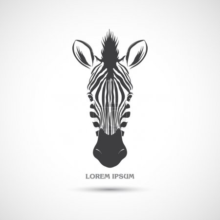 Illustration for Label with the head of a zebra. Vector. - Royalty Free Image