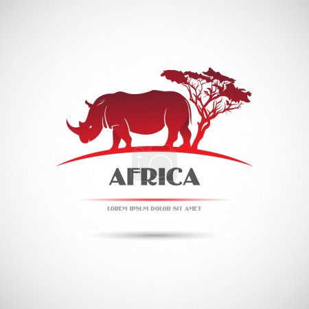 Label with the image of the African rhinoceros. Vector.