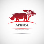 Label with the image of the African rhinoceros Vector