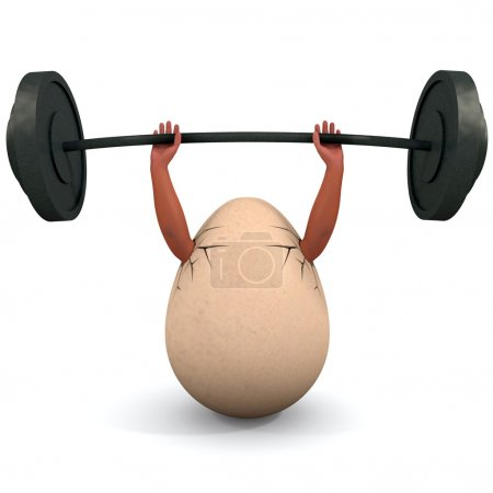 Egg holds a dumbbell.