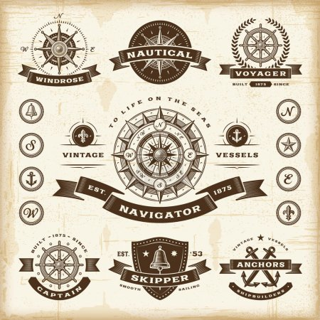 Illustration for A set of fully editable vintage nautical labels and badges in woodcut style. EPS10 vector illustration. - Royalty Free Image