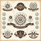 A set of fully editable vintage nautical labels and badges in woodcut style EPS10 vector illustration