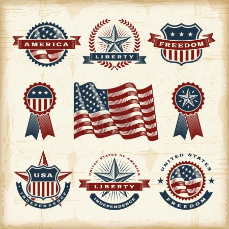 Illustration for A set of fully editable vintage American labels and badges in woodcut style. EPS10 vector illustration. - Royalty Free Image