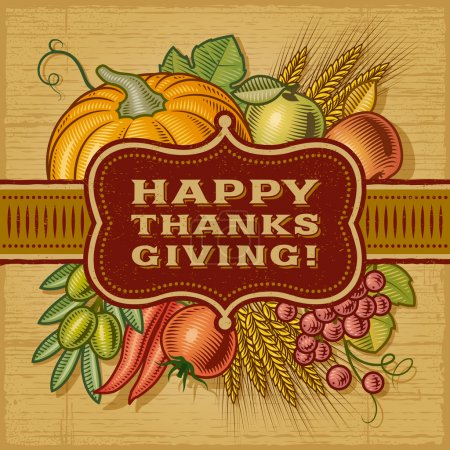 Illustration for Happy Thanksgiving retro card in woodcut style. EPS10 vector illustration. - Royalty Free Image