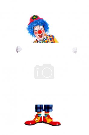 Birthday clown holding the big blank