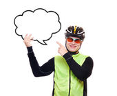 Cyclist pointing to the speaking bubble blank