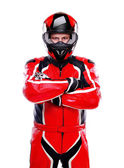 Motorcyclist in red on white background