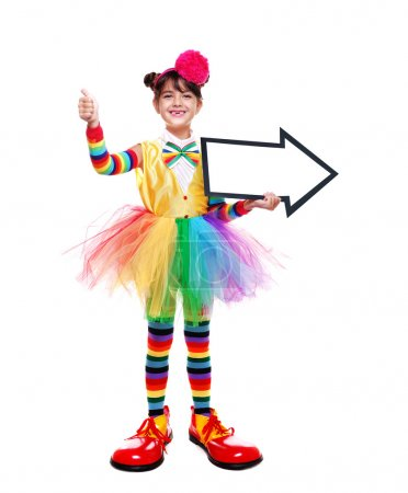 Little girl in clown outfit