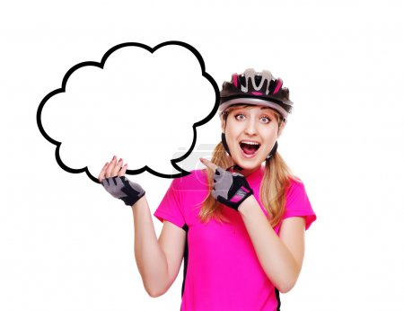 Cyclist holding the speaking bubble blank