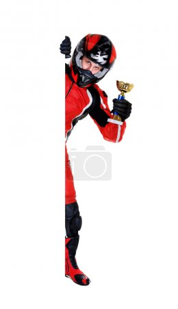Motorcyclist holding the trophy and blank full length