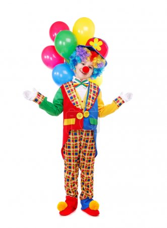 Boy birthday clown with a bunch of balloons
