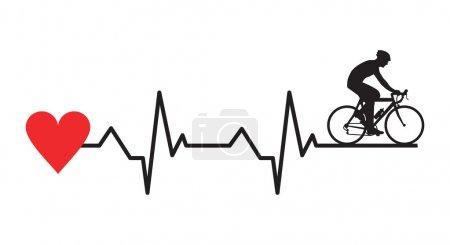 Illustration for Vector illustration of cyclist cardiogram - Royalty Free Image