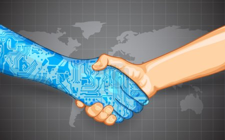 Illustration for Illustration of hand shake between technology and human - Royalty Free Image