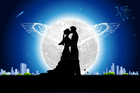 Illustration for Illustration of couple in romantic mood in night view with moon backdrop - Royalty Free Image