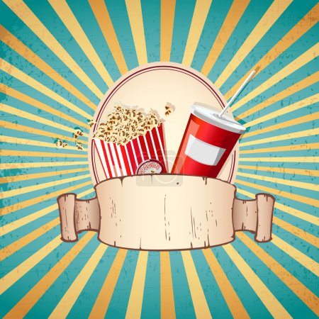 Illustration for Illustration of cold drink and pop corn on sunburst vintage background - Royalty Free Image