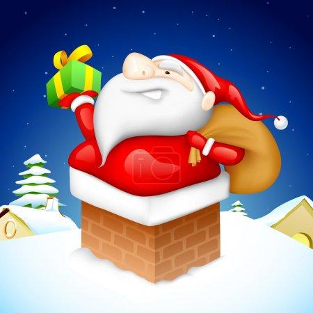 Santa entering through Fire Pipe