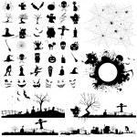 Illustration of set of halloween element for desig...