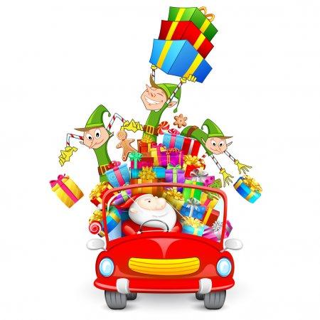 Illustration pour Illustration d'elfe jetant des cadeaux de Noël de voiture avec le Père Noël - image libre de droit