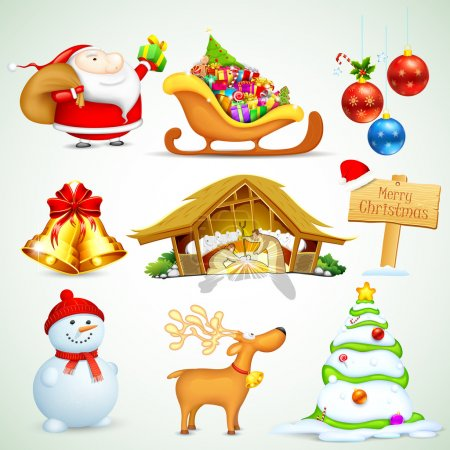 Illustration for Illustration of set of Christmas object for design - Royalty Free Image