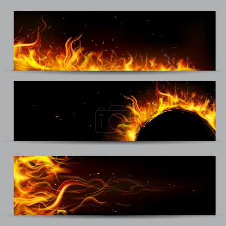 Illustration for Illustration of set of fire flame banner - Royalty Free Image