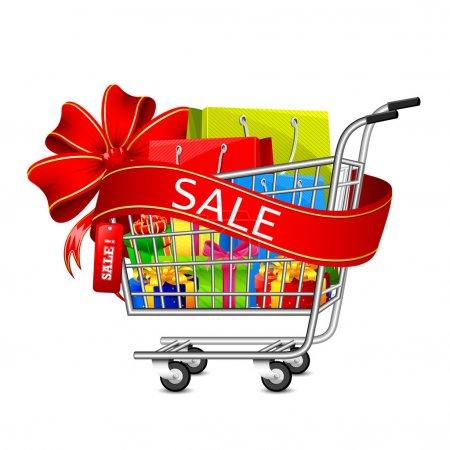 Illustration pour Illustration de panier plein de sac à provisions et boîte cadeau avec ruban de vente - image libre de droit
