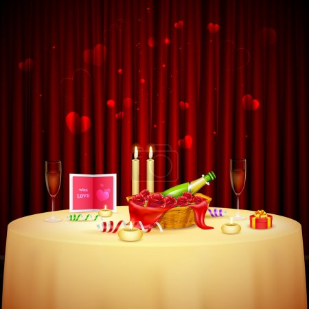 Illustration for Illustration of table decorated for candlelight dinner for Valentine's Day - Royalty Free Image