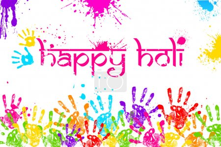 Illustration for Illustration of colorful hand print in Happy Holi background - Royalty Free Image