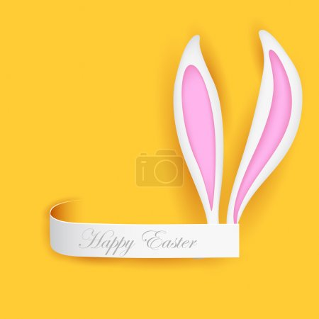 Illustration for Illustration of label with Easter bunny ears - Royalty Free Image