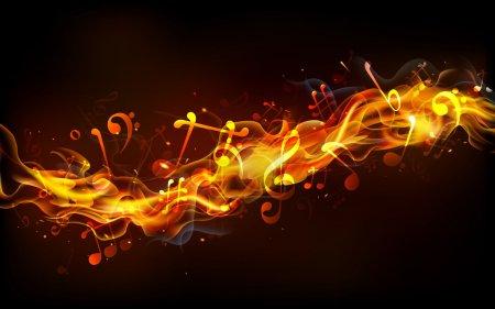 Illustration pour Illustration de notes de musique sortant de flamme de feu - image libre de droit