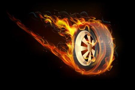 Illustration pour Illustration de la flamme de feu dans le pneu montrant la vitesse - image libre de droit