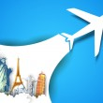 Illustration of airplane flying in travel backgrou...