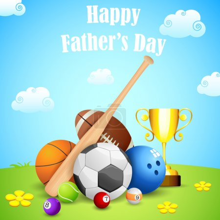Illustration for Illustration of sports ball and trophy in Father's Day background - Royalty Free Image