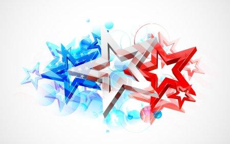 Illustration pour Illustration du drapeau américain abstrait pour la fête de l'indépendance - image libre de droit