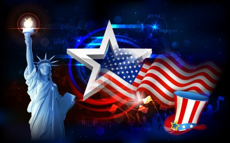 Illustration for Illustration of Statue of Liberty on American flag background for Independence Day - Royalty Free Image