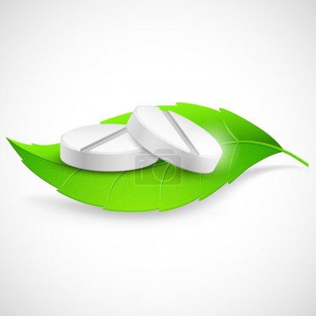Illustration for Illustration of medicine on leaf showing herbal concept - Royalty Free Image